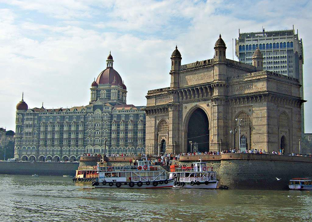 Gateway of India Monument and the Taj Mahal Palace and Towers Hotel in Mumbai, India