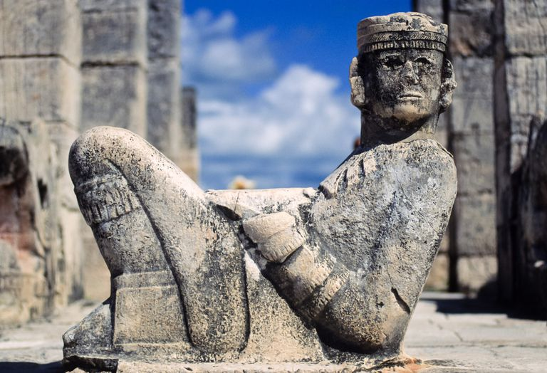 Chac Mool statue in the Temple of Warriors, Chichen Itza Maya ruins, Yucatan, Mexico.
