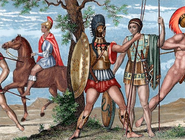 Two Greek soldiers. Hoplite and Helots.