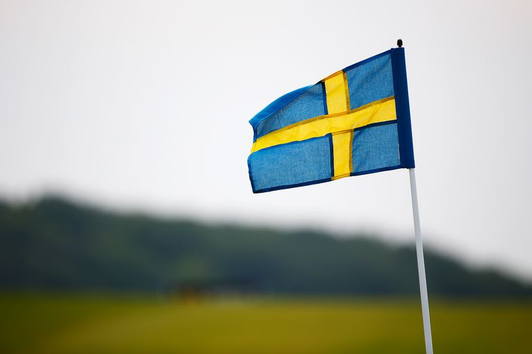 The pin flags are replaced with Swedish flags to mark Sweden's National Day on day three of the Nordea Masters at the PGA Sweden National on June 6, 2015