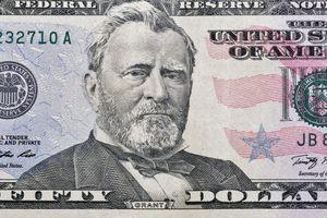 US President Grant portrait on fifty dollars bill macro