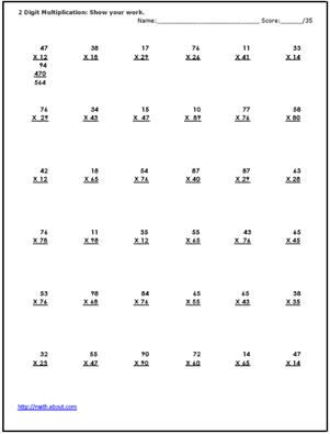 2 Digit Multiplication Worksheets