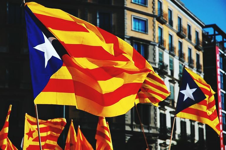 Flag of Catalonian, where Catalan is spoken