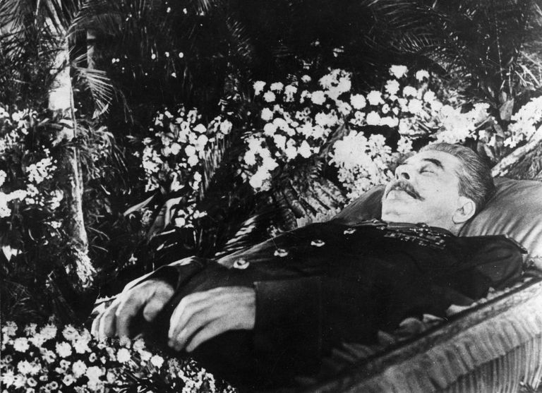 Deceased Joseph Stalin, lying in state in the hall of Trade Union House, Moscow.