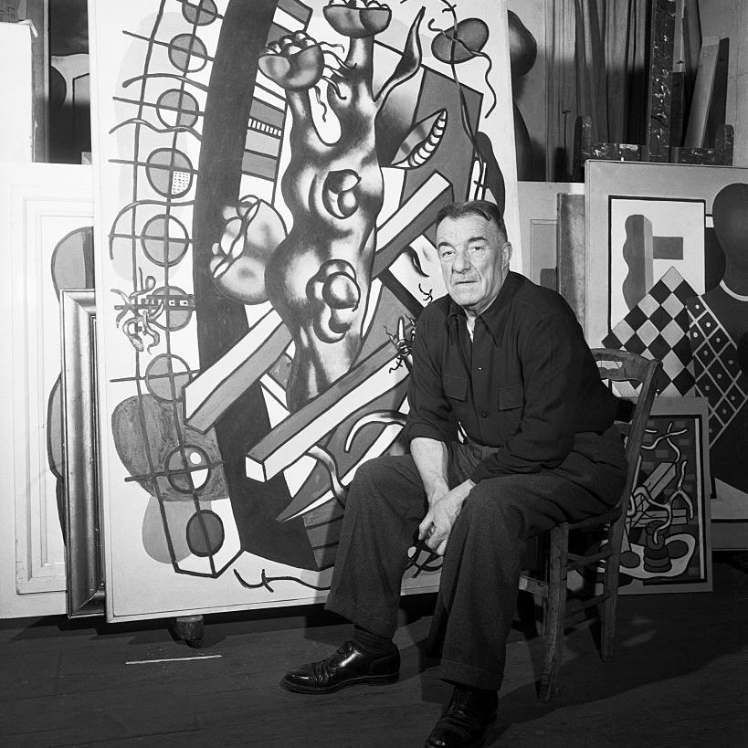 Fernand Leger with One of His Paintings