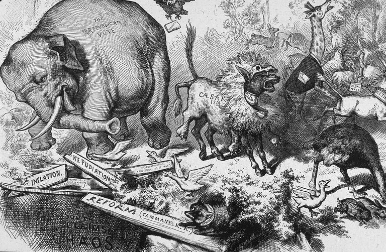 The First Appearance Of Republican Elephant With A Fox In Bottom Right Corner Representing Democratic Party Political Cartoon By Thomas Nast