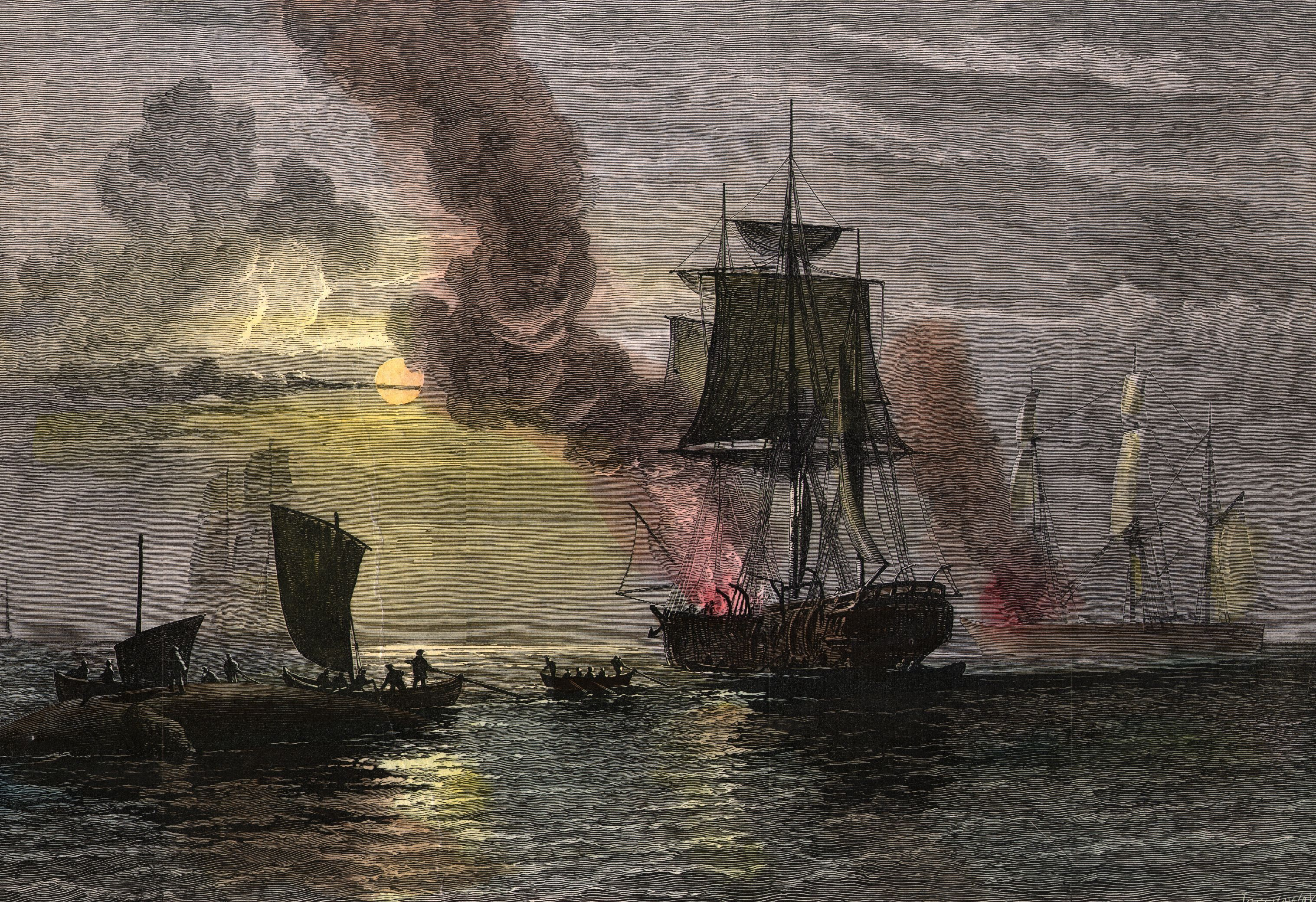 Lithograph of whaling ships boiling blubber.