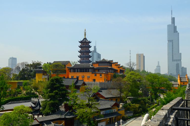 Old - New Architecture, Nanjing, China, Rooster Crowing Temple Pagoda, Zifeng Skyscraper