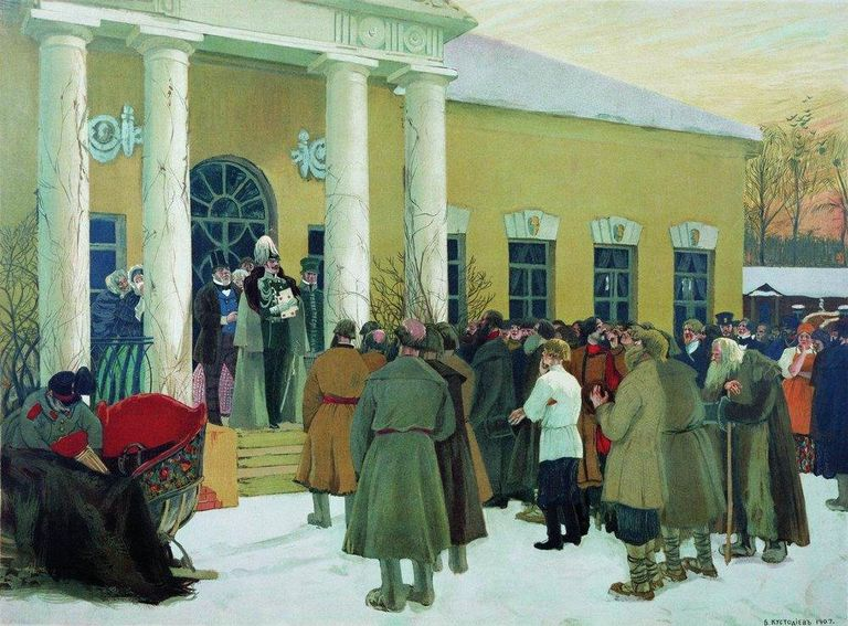 "Boris Kustodiev, ""Liberation of peasants"" (1907)."