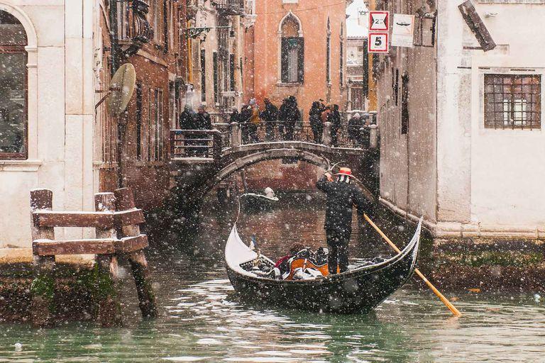 A snowy winter scene in Venice, Italy.