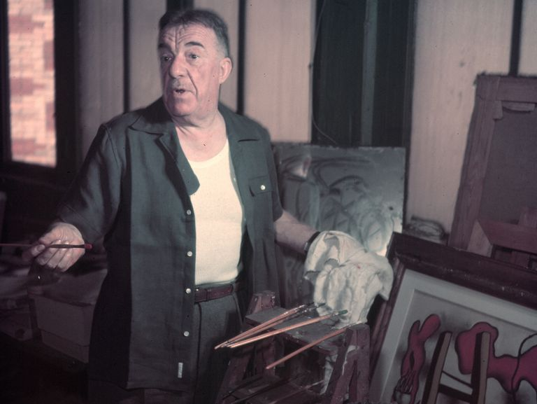 Fernand Leger working in his art studio