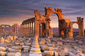 Palmyra is an ancient, ruined city about 135 miles northeast of the capital, Damascus