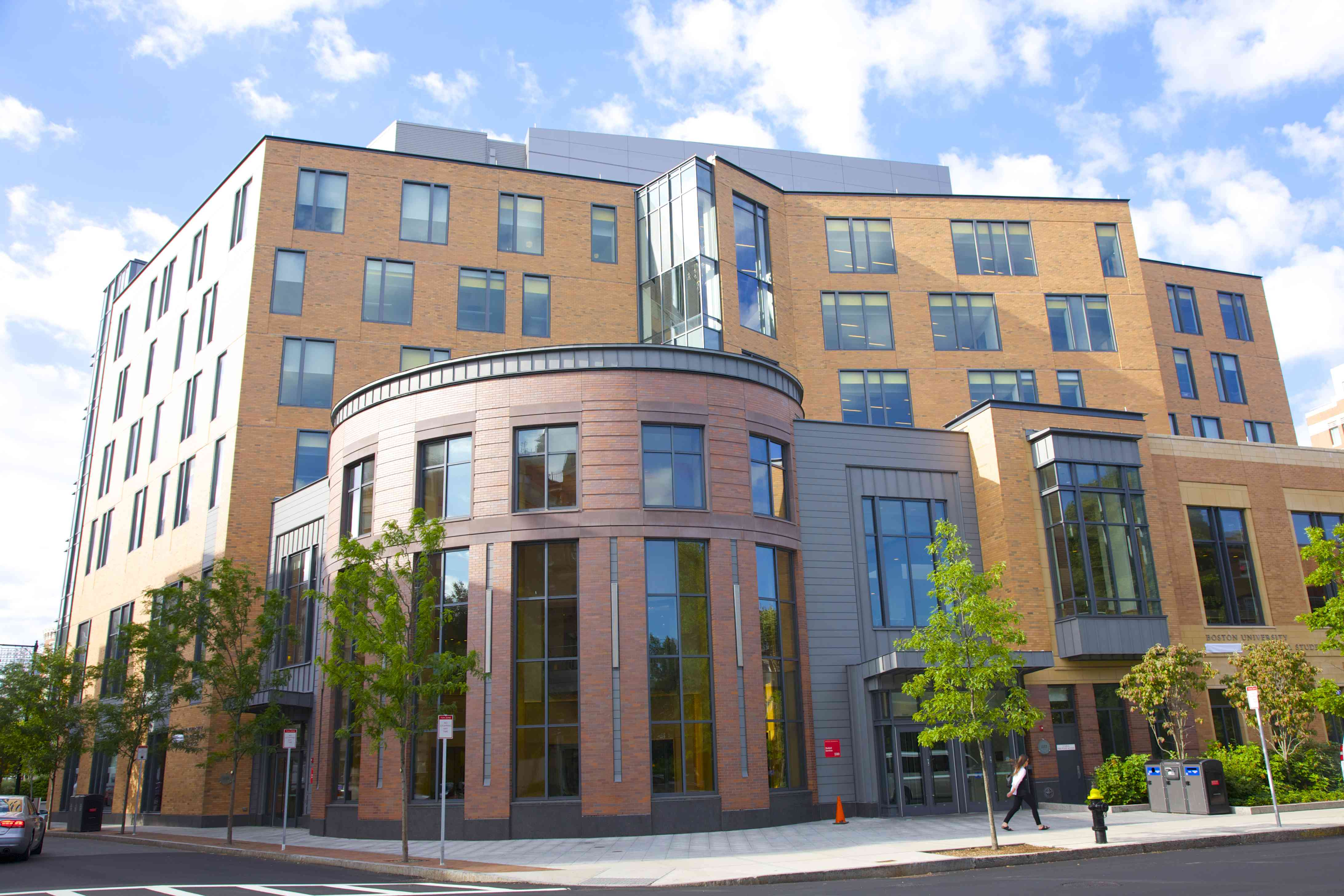 Curved corner of modern Boston University building