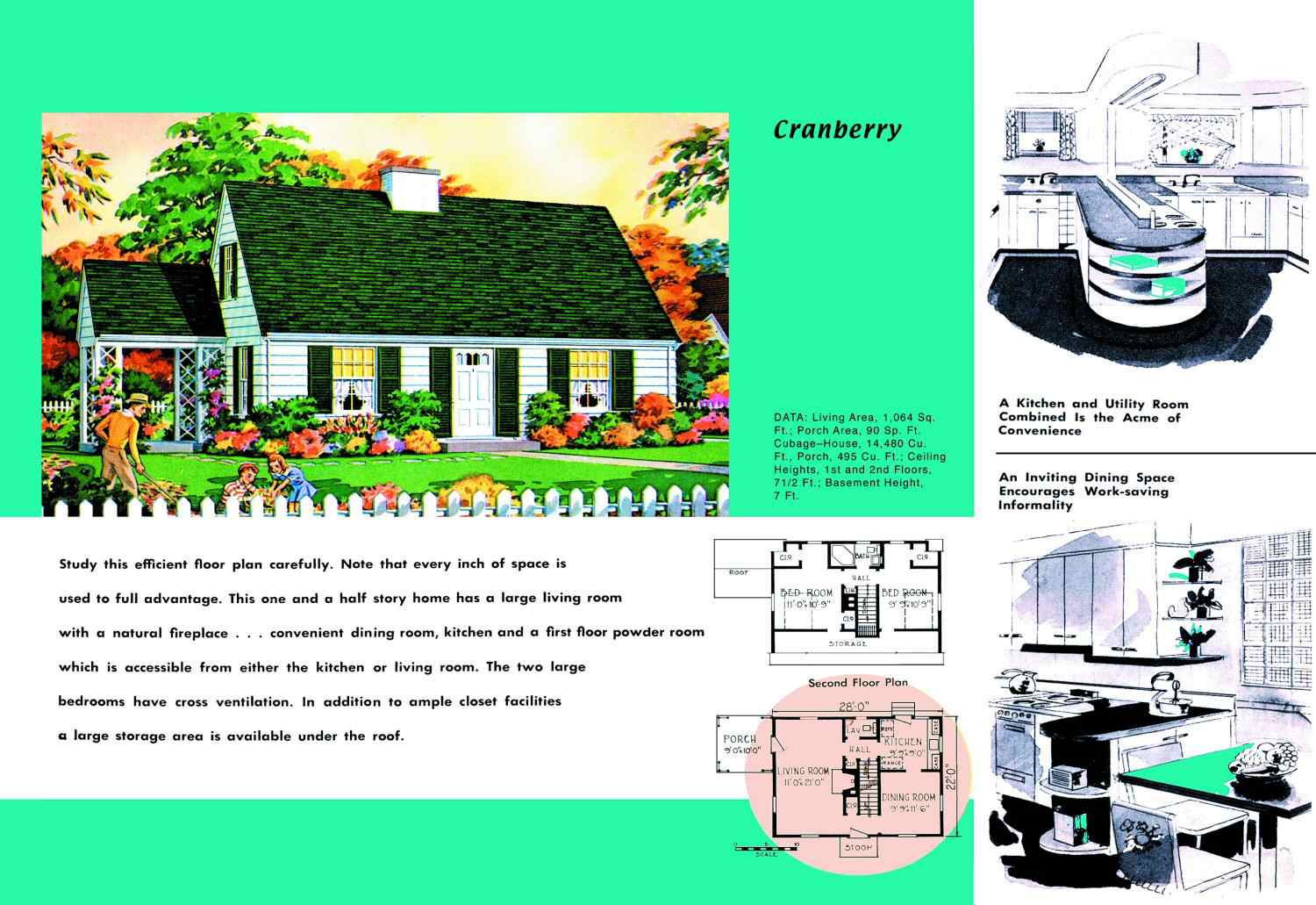 Cape Cod House Plans 1950s America Style Attic Room 2 Wiring Diagram Floor Plan And Rendering Of Called Cranberry