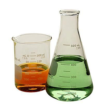 Chemicals in glass containers.