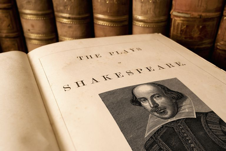 Title page from an antique book of the plays of Shakespeare