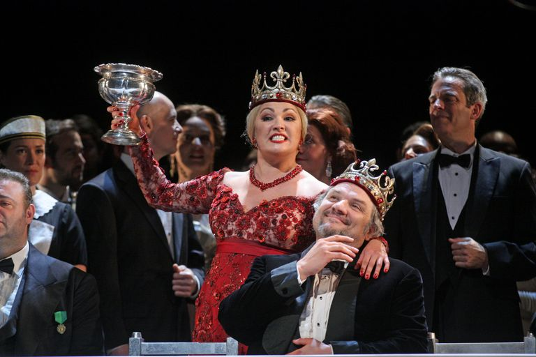 Anna Netrebko as Lady Macbeth and Zeljko Lucic as Macbeth star in Verdi's Shakespearian opera, Macbeth, performed at the Metropolitan Opera House in New York City on Saturday, September 20, 2014.