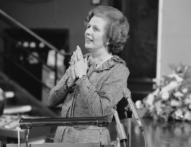 British Conservative Party politician and Prime Minister of the United Kingdom Margaret Thatcher (1925 - 2013) giving a speech.