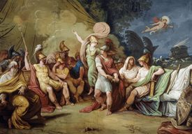 Dispute between Achilles and Agamemnon, fulcrum of cycle with Stories of Iliad, by Felice Giani (1758-1823), fresco, vault of Feast Hall or Achilles' Gallery, main floor, Palazzo Milzetti, Faenza, Emilia-Romagna, Italy, 19th century