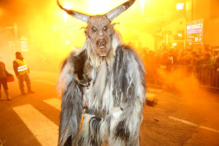 Krampus characters parade, on St Nicholas' day in Castelrotto, Italy