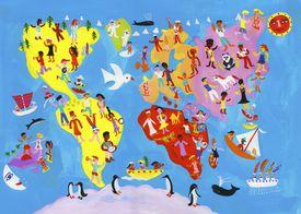 Illustrated world map of people having fun