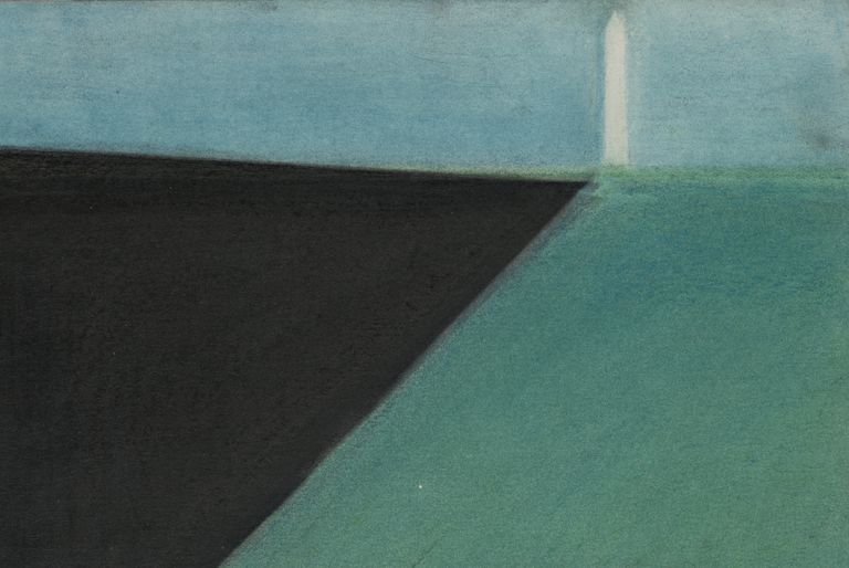 abstract drawing, black triangle pointing to white obelisk on the green horizon