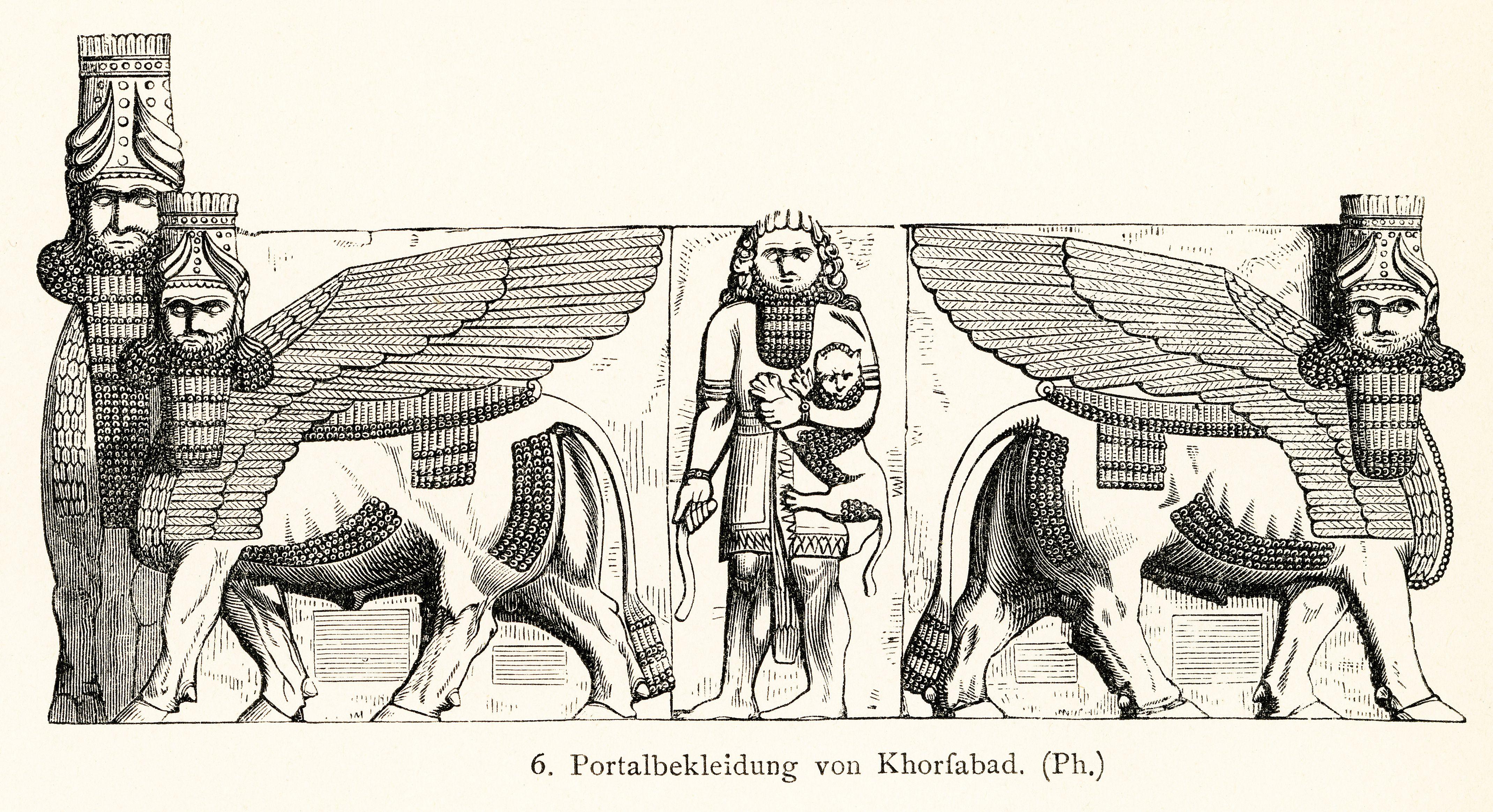 portal jamb statues of Dur-Sharrukin, Palace of Sargon, Khorsabad, Iraq