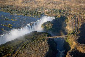 Victoria Falls: The bridge over the Zambezi River at Victoria Falls separates the countries of Zimbabwe and Zambia