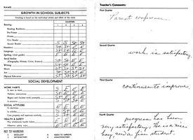 school transcript report card