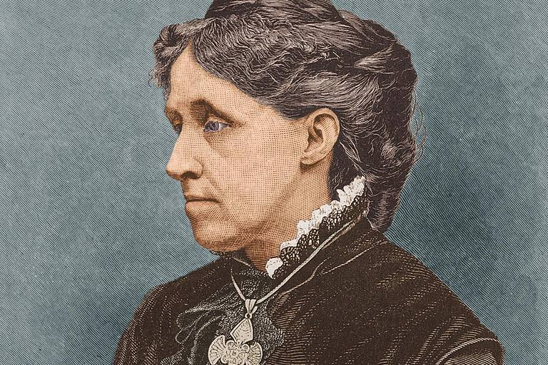 Illustrated portrait of American author Louisa May Alcott (1832 - 1888), mid to late 19th century.
