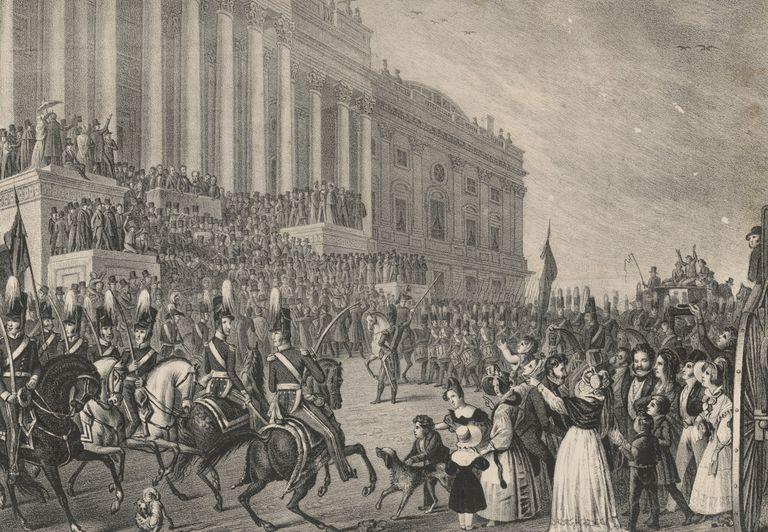 Engraved illustration of William Henry Harrison's inauguration