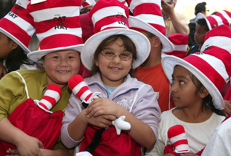 Children in the crowd during Theodor 'Dr. Seuss' Geisel Honored Posthumously with Star on Hollywood Walk of Fame at Hollywood Blvd. in Hollywood, California, United States.