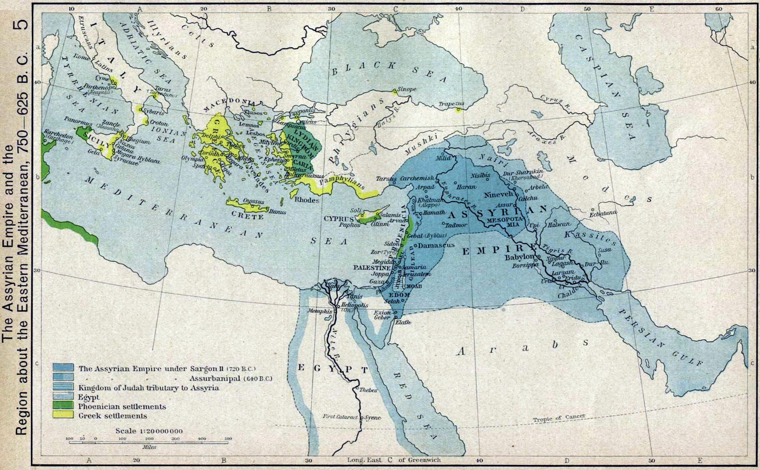 Map of the Assyrian Empire and the eastern Mediterranean, 750 to 625 B.C.