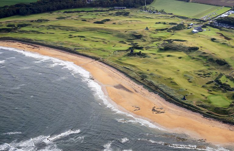 Aerial view of Kingsbarns links in Scotland