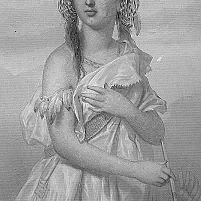 A romanticized, European-ized version of Pocahontas, from the late 19th century.