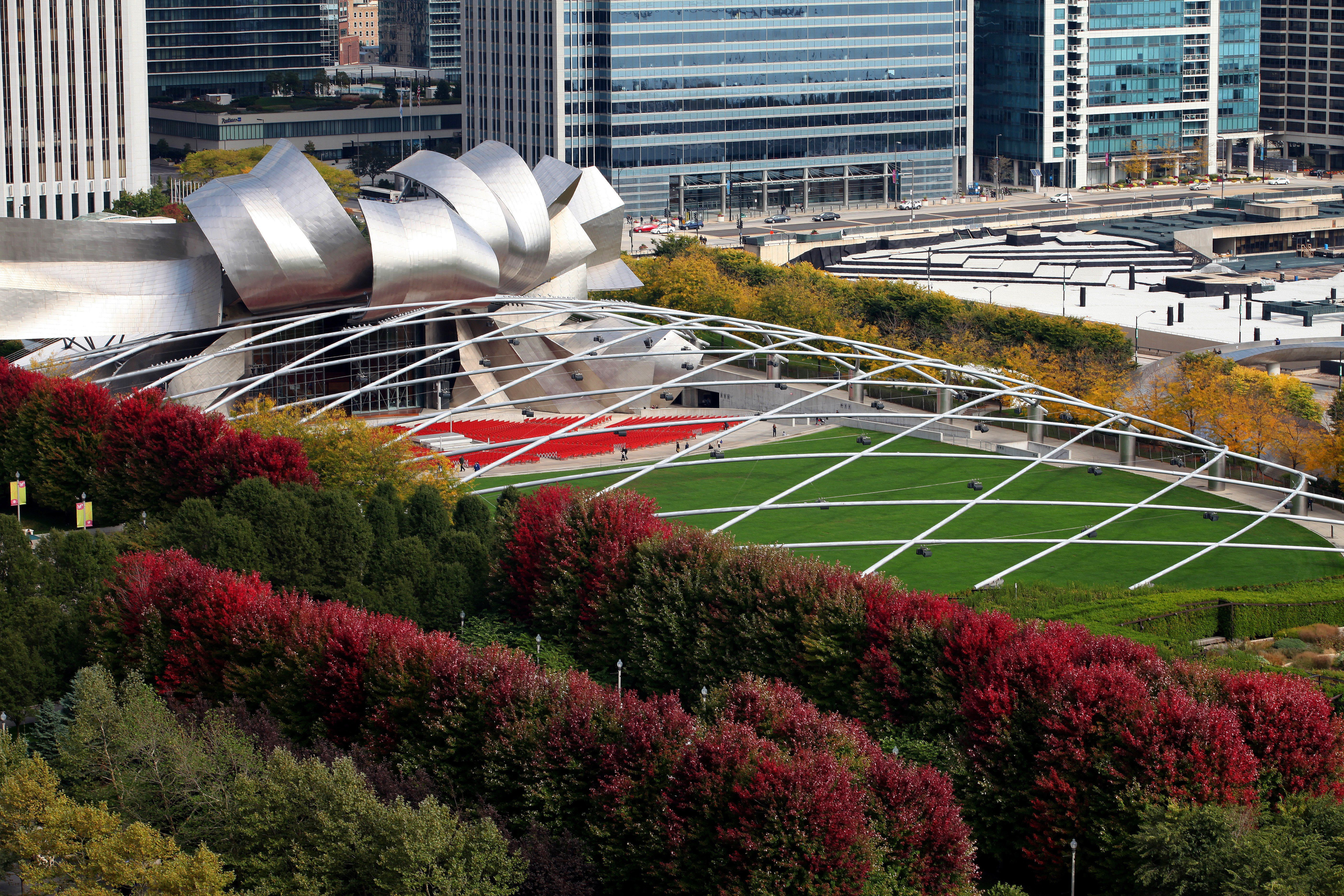 outdoor amphitheater and lawn in city setting