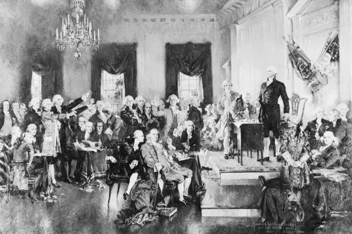 Undated illustration of the 1787 Constitutional Convention.