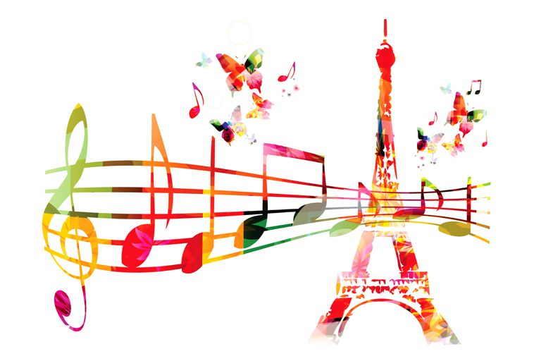 A colorful Eiffel Tower on a with music staff and notes