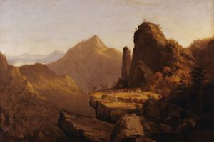 Thomas Cole's Scene from 'The Last of the Mohicans,' Cora Kneeling at the Feet of Tamenund