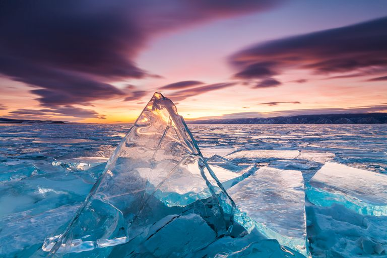 Sunset on the ice of Lake Baikal, Siberia