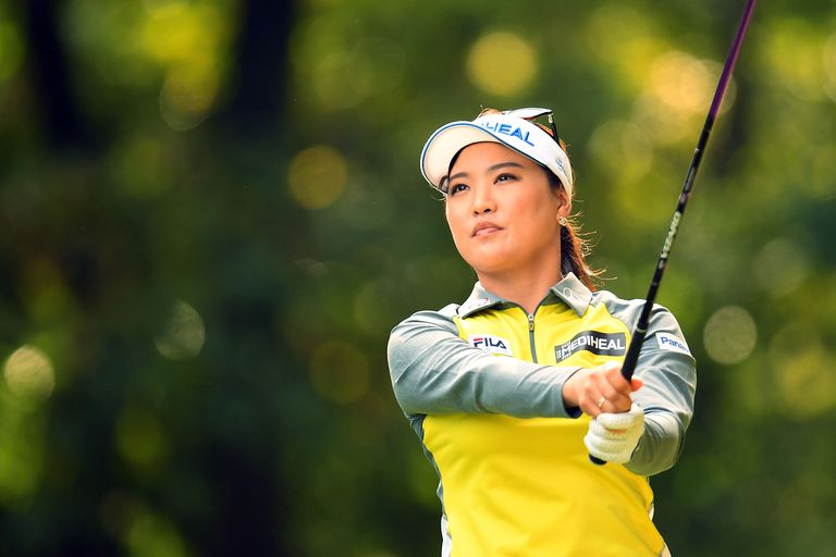 So Yeon Ryu of South Korea hits her tee shot on the 2nd hole during the second round of the TOTO Japan Classics 2017 at the Taiheiyo Club Minori Course on November 4, 2017 in Omitama, Ibaraki, Japan