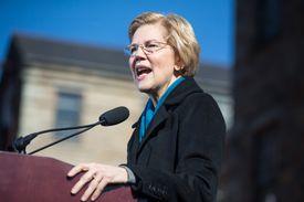Senator Warren speaking at a podium