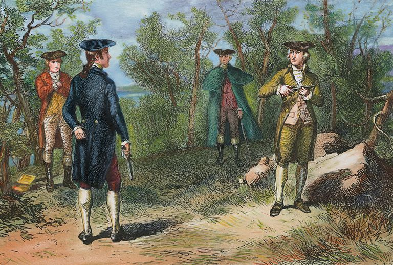 Illustration of Alexander Hamilton and Aaron Burr Preparing to Duel