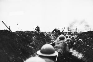 Allied Soldiers in Trench at Arras, 1918