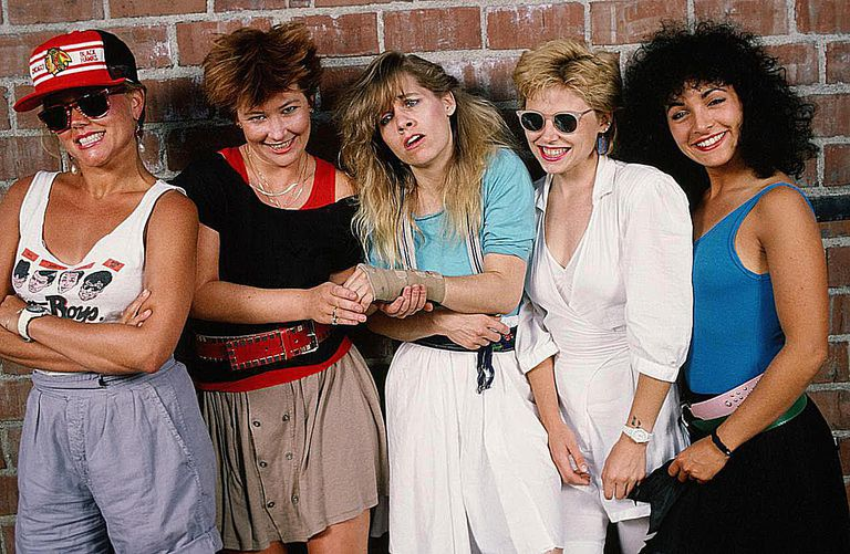 The Go-Gos, (L-R) Belinda Carlisle (lead vocals), Gina Schock (drums), Charlotte Caffey (lead guitar), Kathy Valentine (bass), and Jane Wiedlin (rhythm guitar).