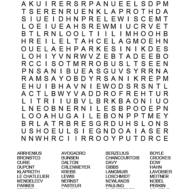Famous Chemists Word Search