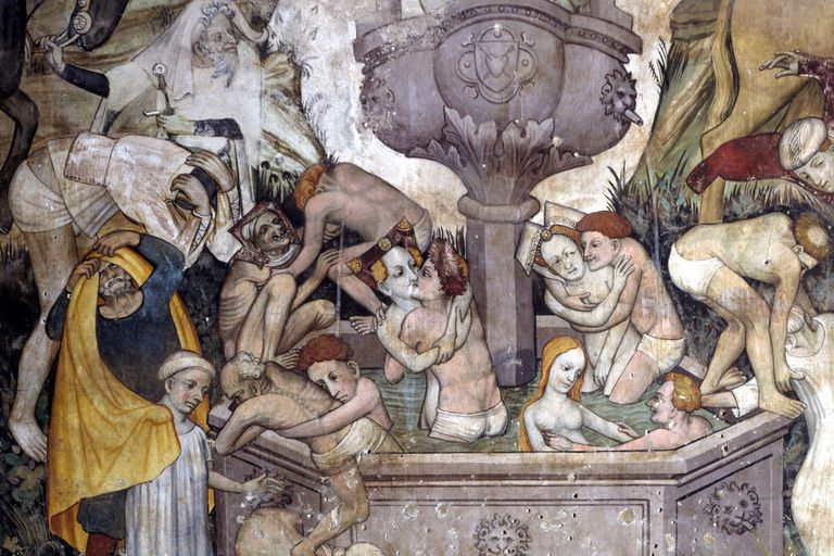 "The artwork known as ""The Fountain of Youth"" from the 15th century in Italy depicts Middle Age figures in various states of undress"