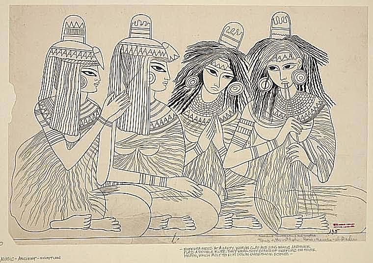 Ancient musicians and singers, Tomb of Nevothph, Beni-Hassan-el-Qadin. (1844-1889)