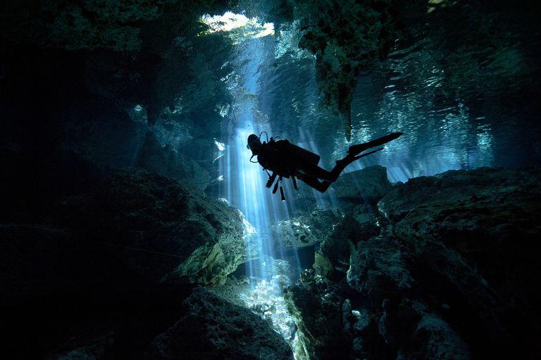 Scuba Diving in Cenote, Mexico
