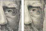 Comparison of genuine and counterfeit portrait on American paper currency